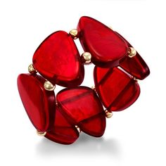 Style&co. Gold-Tone Red Shell Stretch Bracelet ($21) ❤ liked on Polyvore featuring jewelry, bracelets, red, style & co., style & co jewelry, stretch jewelry, goldtone jewelry and shell jewelry
