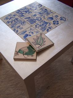 Trompe l'oeil table (imitation Tiles and silver leaf) - Samantha Ceccobelli