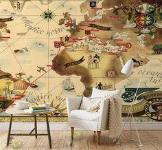 3d wallpaper custom photo mural non-woven wall sticker Brazil Pan American aviation line map