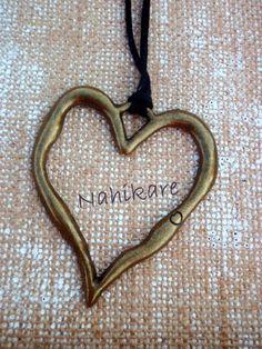 Boho Collar de ante regulable super Corazón Bronce por Nahikare