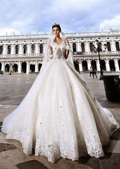 Gorgeous Ball Gown V-Neck Beading Appliques Cathedral Charming Wedding Dress Wedding Dresses 2014- ericdress.com 10926764