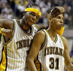Jermaine O'Neal and Reggie Miller on Pacers Sports Basketball, Basketball Players, Indiana Pacers Players, Jermaine O'neal, Spud Webb, Mike Bibby, Reggie Miller, Jason Williams, Allen Iverson