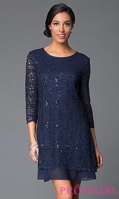 Short Lace Dress with Sequin Detailing and Three Quarter Sleeves by Tiana B at PromGirl.com
