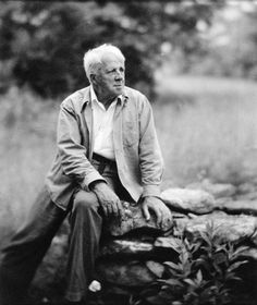 """Robert Frost ca. 1955. """"Some say the world will end in fire,/ Some say in ice./ From what I've tasted of desire,/ I hold with those who favor fire./ But if it had to perish twice/ I think I know enough of hate/ To say that for destruction ice/ Is also great/ And would suffice."""""""