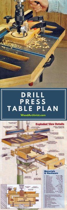 Drill Press Table Plans - Drill Press Tips, Jigs and Fixtures | WoodArchivist.com