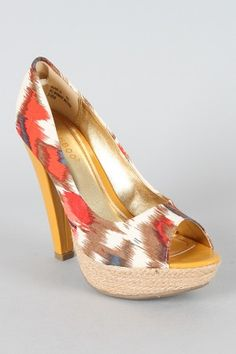 URBANOG Bamboo Blair-18 Open Toe Platform Pumps.