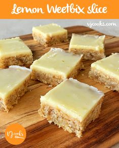 Lemon weetbix slice – VJ Cooks A twist on the Kiwi classic, this melt and mix recipe has a chewy baked coconut and weetbix base. Topped with icing made from lemon juice & zest. So yummy. Lemon Recipes, Baking Recipes, Sweet Recipes, Cake Recipes, Dessert Recipes, Crowd Recipes, Tray Bake Recipes, Potato Recipes, Pasta Recipes