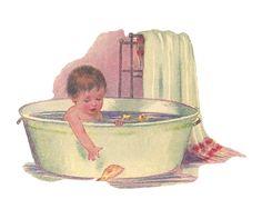 vintage baby illustration victorian baby baby bathing in. Black Bedroom Furniture Sets. Home Design Ideas