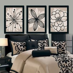 Beige Black Wall Art, Bedroom Canvas or Prints Bathroom Artwork, Bedroom…