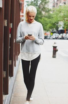 BP. Essential Leggings (Juniors)   Nordstrom (I could do basically this look with a cheep sweatshirt cut up the back with soft sheer fabric sewn in in a tulip back style.