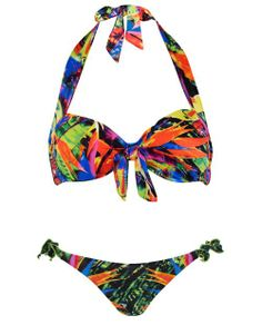 Seafolly Oasis Tie Front Halter Bikini Top in Oasis #SS14SWIM #TotallyTropical #figleaves