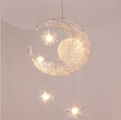 Goolight Creative Moon and Stars Children Bedroom Living Room Ceiling Light Pendant Hanging Lamp Chandelier