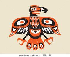totem bird - indigenous art  stylization - stock vector