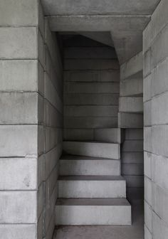 a minimal concrete stair in the Kivik Art Centre Pavilion by David Chipperfield in Sweden, 2008