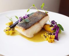 Another view: black cod with corn curry broth.