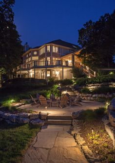 Landscape Lighting: Lake House 2 - Traditional - Patio - Omaha - by McKay Landscape Lighting Beautiful Buildings, Beautiful Homes, Kb Homes, Luxury Homes Dream Houses, Dream Homes, Landscape Lighting, My Dream Home, Dream Big, Curb Appeal