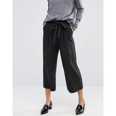ASOS Tailored Culotte with Tie Waist (€29) ❤ liked on Polyvore featuring pants, capris, tie waist pants, pocket pants, tie waist trousers, asos pants and cropped trousers