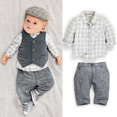 New Newborn baby boy Grey Waistcoat + Pants + Shirts clothes sets Suit 3PCS #Unbranded #Dressy