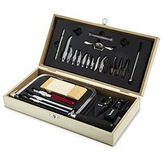 X-ACTO Hobbytool Set, Deluxe 30 Piece Set - Prepare to take on any craft or hobby project with the versatile X-ACTO Deluxe Hobby Tool Set. Featuring a wide variety of tools that can cut, saw, and carve wood, plastic, and other materials, this set is a natural fit in the workshop of any crafter or hobbyist. The 3 included knives are designe...
