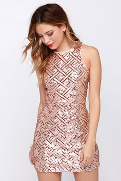 Pretty Amazing Rose Gold Sequin Dress at Lulus.com - I know what I'm getting myself for christmas!