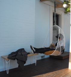 Ico Traders wire hanging chair and oak bench seat.  www.icotraders.co.nz