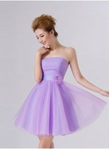 NIKOL - A-line Knee length Chiffon Strapless Chinese Cheap Wedding Party Dress