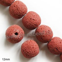 Gemstone Beads, Lava Rock, Bright red, Round, Approx 12mm, Hole: Approx 1mm, 33pcs per strand, Sold by strands