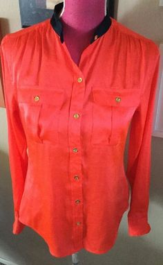 C Wonder Silky Coral Gold Buttons Navy Trim Shirt Top Blouse | eBay