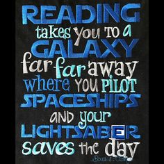 Reading far far away space book in hand saying design digital instant download