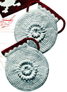 Cafe Au Lait Potholder crochet pattern from Pot Holders, originally published by Spool Cotton Company, Book No. 133, from 1939.