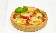 Brie, Tomato and Caramelised Onion Tartlets with Parmesan Pastry (with egg and cream filling)