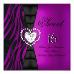 Sweet 16 Sixteen Birthday Party Zebra Plum Purple Custom Invitation