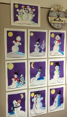Christmas Art Projects, Winter Art Projects, Winter Project, Winter Crafts For Kids, Winter Fun, Winter Theme, Painting For Kids, Art For Kids, Doki