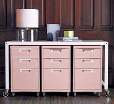 TPS pink 3-drawer filing cabinet cb2  $99