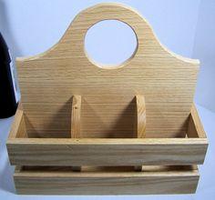 Wood utensil caddy plate and napkin holder Oak by BasketsByDebi, $35.00