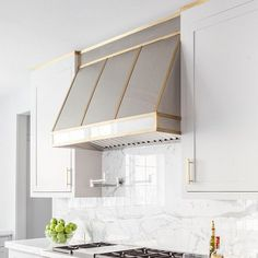 Stainless Steel Kitchen Hood with Brass Trim, Transitional, Kitchen