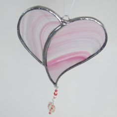 Pink Stained Glass Heart Ornament or Suncatcher by FiveSparrows,