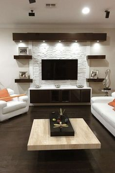 17 DIY Entertainment Center Ideas and Designs For Your New Home Do you have a brand-new house? If so, knowing about DIY entertainment center suggestions may be essential for you. We have 17 inspiration for you Living Room Modern, Home Living Room, Living Room Decor, Tv Wall Ideas Living Room, Living Area, Good Living Room Colors, Small Living Rooms, Cozy Living, Family Rooms