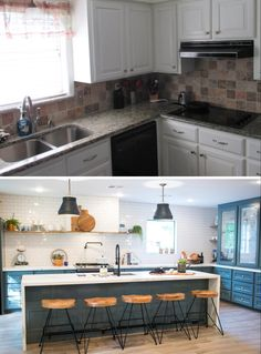 before/after kitchen. fixer upper