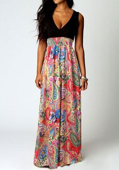 Red Patchwork Floral Print Plunging Neckline Sleeveless Maxi Dress - Maxi Dresses - Dresses