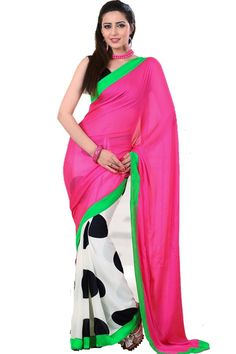 Pink Designer Party Wear Saree with Blouse Fabric - Satin Color - Pink More details  Reference : VLR203C http://valehri.com/sarees/584-pink-designer-party-wear-saree-with-blouse.html