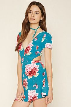 Red,turquoise FOREVER21  casual dress  for woman floral print,a-line dress,cutout,v-neck #vestidoinformal #camisole #túnica #shift #pleat #pleated #drape #t-shape #daisy #foldedshoulder #summer #loosefit #tunictop #swing #day #offtheshoulder #smock #print #printed #tea #babydolldress #polodress #pansybow #sundress #offshoulder