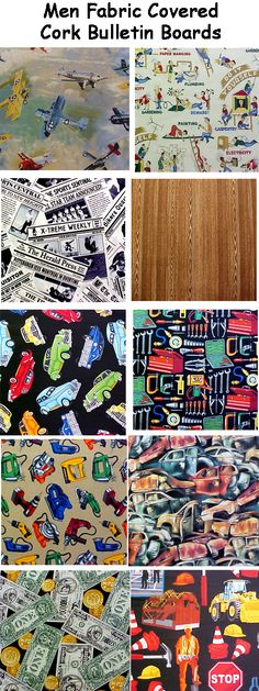 FABRIC CORK BULLETIN BOARDS. Just an example of some fabrics available in subcategory MEN at www.PushPinsAndFabricCorkBoards.com  to make a custom, unique BULLETIN BOARD to match his specific interest, decor, or hobby. Boards are available four standard sizes, with or without message ribbons and Top it off with matching or DECORATIVE PUSH PINS in the Decorative Push Pins department. #fabriccorkbulletinboards #decorativepushpins # Fabric Bulletin Board, Cork Bulletin Boards, Fabric Wall Art, Fabric Decor, Fabric Corkboard, Business Products, Interior Designing, Wall Art Pictures, Wall Hangings