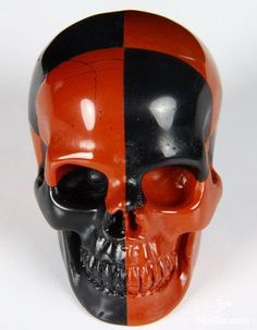 Red Jasper & Black Obsidian Crystal Skull