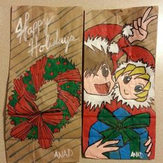 20121218 Sketch lunch bags for my sons. #wreath #elves #holiday #art #anad #xmas #christmas #lunch #school #kids