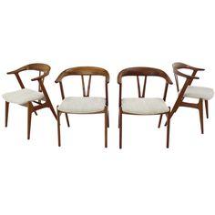 4 Georg Jensen Mid Century Danish Modern Barrel Back Side Chairs Dining Room