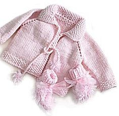 Free Pattern: Pretty in Pink Knit Jacket and Booties  Sweet and easy little jacket - A perfect quick knit gift!