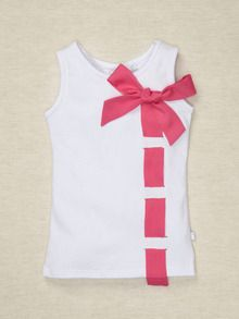 kids Tank with Ribbon  How easy-peasy could this be?  It's knit, so you could easily do this with an x-acto knife and some ribbon, no sewing required other than tacking on the bow! Cute with tank top