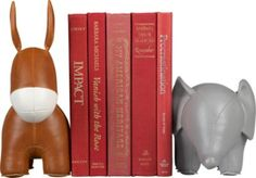Left (donkey) and right (elephant) faux leather bookends.