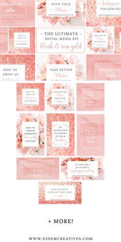 Blush Pink Rose Gold Social Media Templates, Pink Branding, Instagram Template, Pinterest Facebook Template, Floral Stock Photo, Blog Header